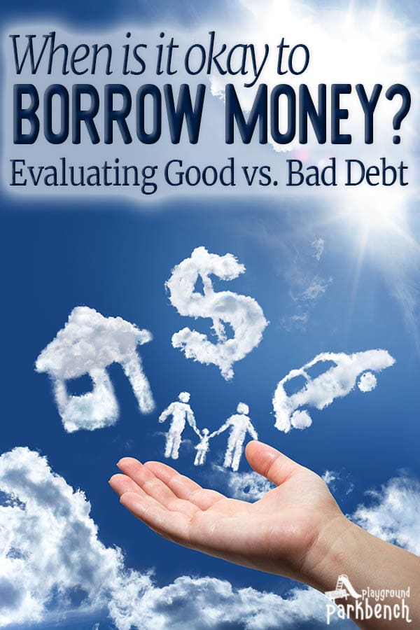Is all debt bad? When is it okay to borrow money? Learn about consumer household debt, what makes good debt versus bad debt, and how to safely borrow money for your family finances #personalfinance #debt #debtfree #familyfinances