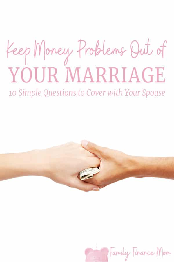 Money is one of the leading causes of divorce in marriages... but it's not lack of money that's the problem. Money problems and marriage issues stem from an inability to TALK about money with your spouse. Get the FREE printable to jump start the family finance conversation with your spouse to help you get on the same page! #personalfinance #marriage #money #familyfinances