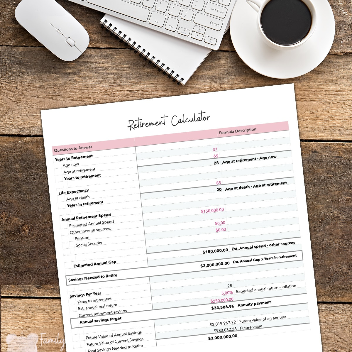Get your FREE downloadable Retirement Calculator spreadsheet to learn how much you should save for retirement