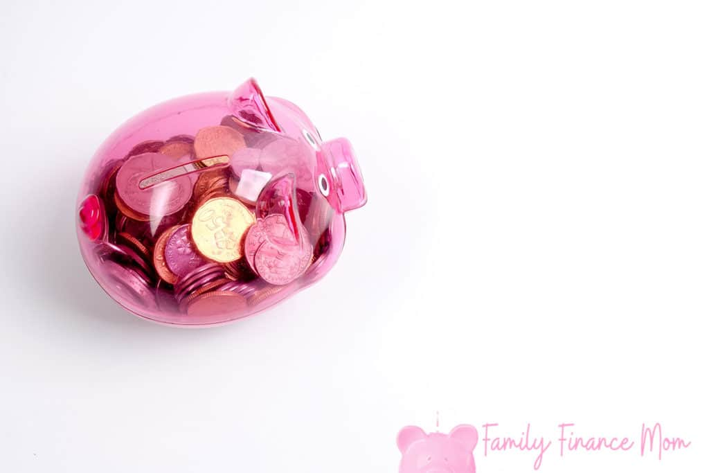 Coins in the red piggy bank isolated on white. Saving and investment conceptual.